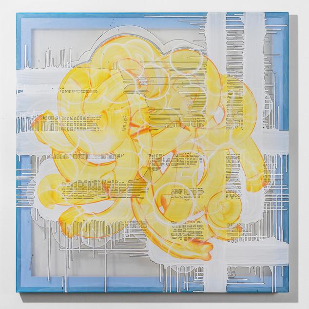 Grida 130.3 x 130.3 cm painting marker, acrylic on chiffon, wooden frame 2020