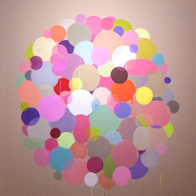 정직한 작용 Honest Function 2015 130x130cm mixed media on canvas