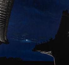 Blue Moon (경복궁 연생전),새김, Oil pastel, Acrylic on Canvas, 150x170cm, 2021.jpg