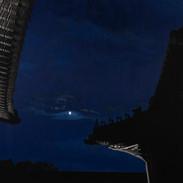 Blue Moon (경복궁 연생전),새김, Oil pastel, Acrylic on Canvas, 150x170cm, 2021