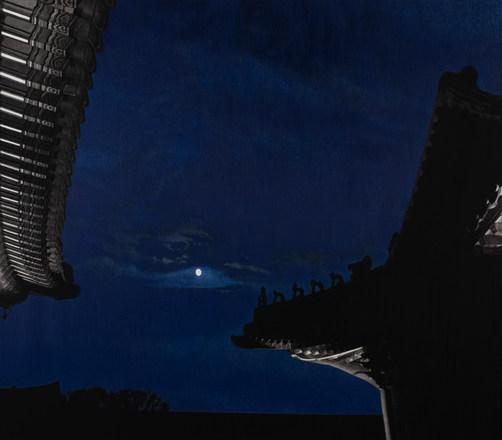 Blue Moon (경복궁 연생전),새김, Oil pastel, Acry
