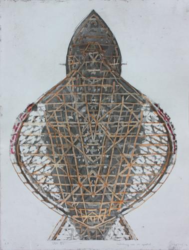 경험의 축1 2012 45x60cm handcolouring over an aquatint