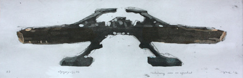allegory-SL93 2012 45x20cm handcolouring over an aquatint