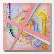 A clumsy excuse 130.3 X 130.3 cm painting marker, acrylic on chiffon, wooden frame 2020