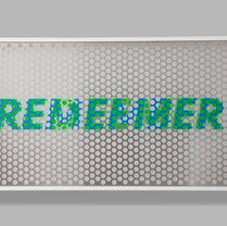Remember / Redeemer 89.4 x 165.3 x 10 cm Perforated aluminum panel, acrylic spray paint, acrylic on paper, wooden frame, anti-reflection glass 2019