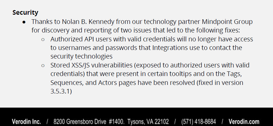 CVE-2019-10715: Stored XSS in Verodin Director version 3.5.3.0 and earlier