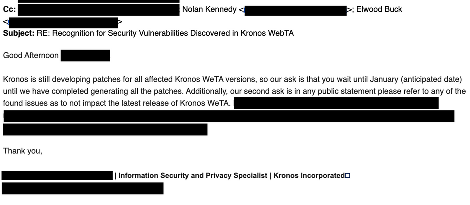 CVE-2020-8496: Stored XSS in Kronos Web Time and Attendance (webTA) 4.1.x