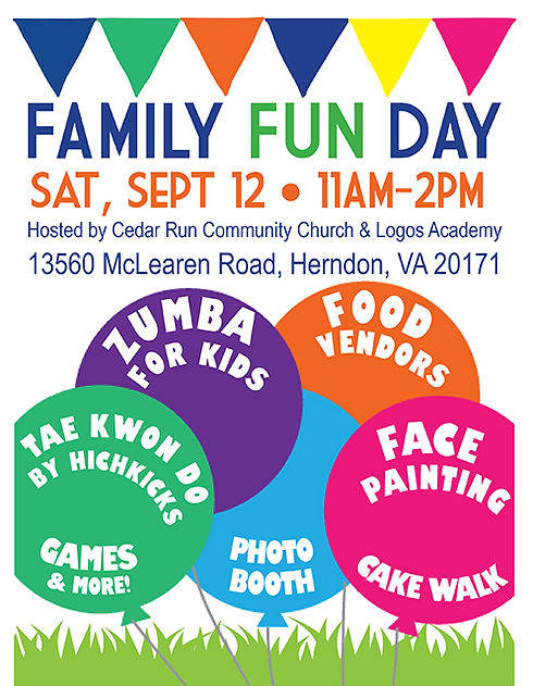 Family Fun Day Ad for Logos Curved Words