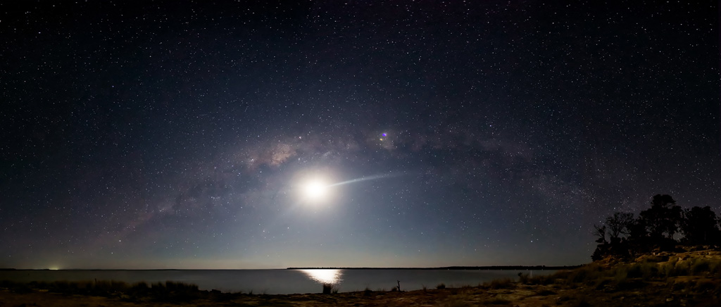 Milky Way and the Moon over Lake Maraboon