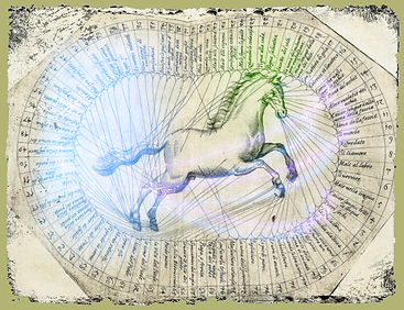 circle of the horse w light gold grunge