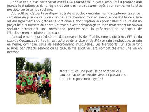 Une section foot pour les filles de 2nde au lycée Jean-Paul II