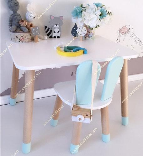 Մանկական սեղան աթոռով նապաստակ