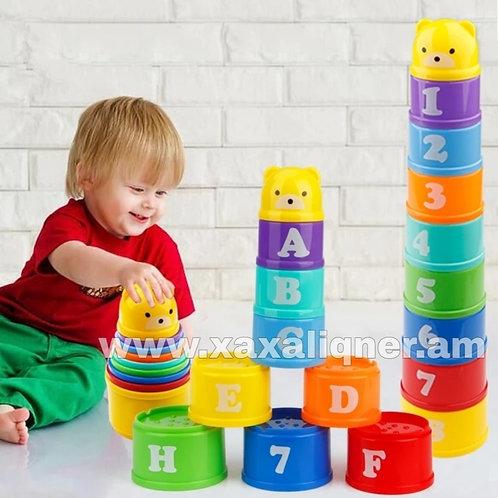 Մանկական զարգացնող խաղ բուրգ դույլիկներով