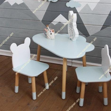 Մանկական փայտե սեղան 1 աթոռիկով` արջուկ և ամպ