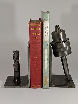 Chuck and drill bit bookends