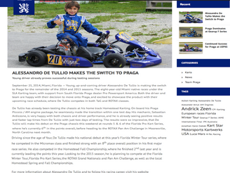 Alesandro on Praga North America official website and ekartingnews.com