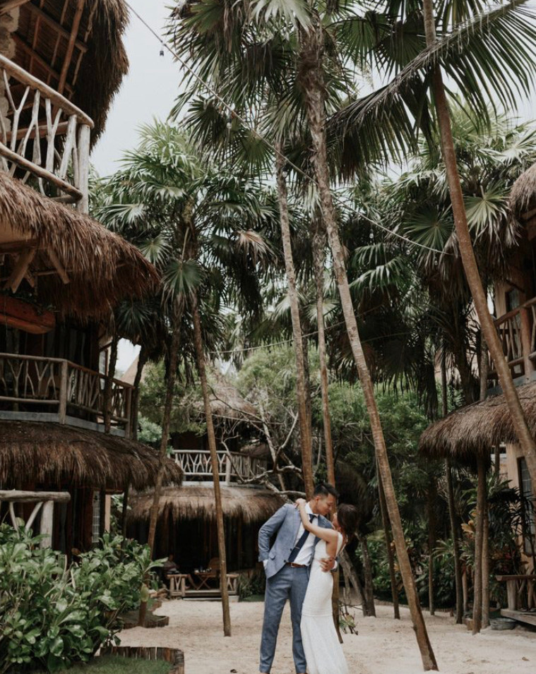 tropical wedding bride and groom
