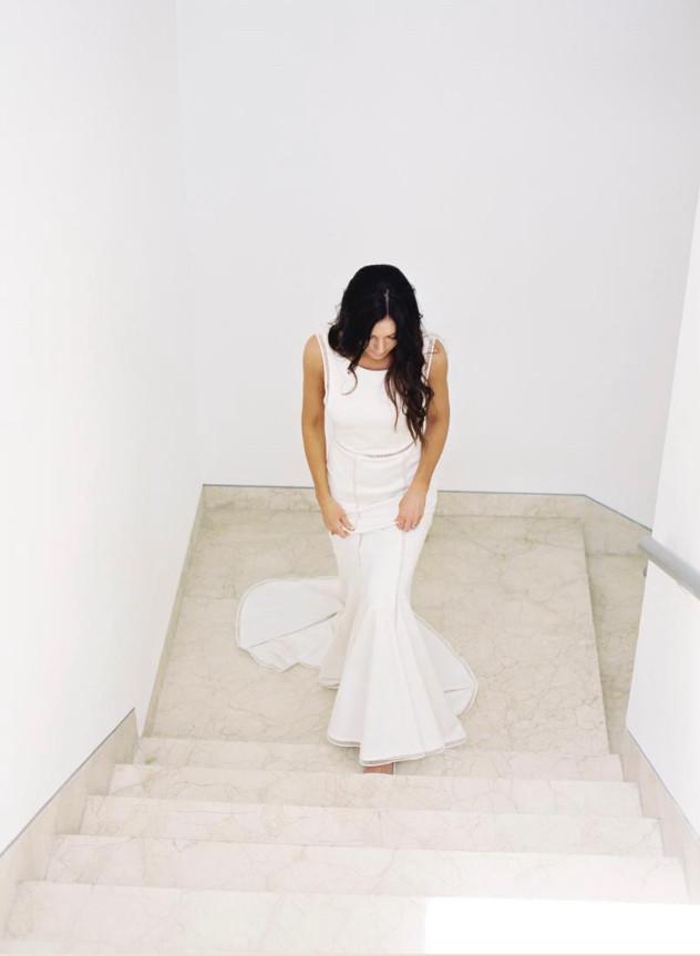 bride getting ready wedding dress