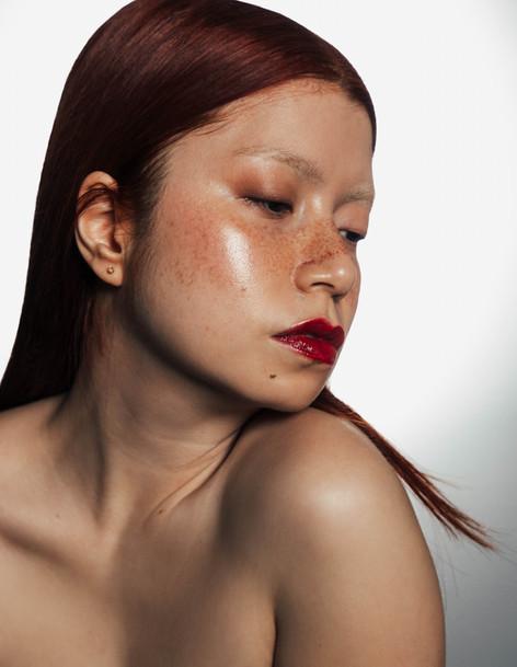 asian model makeup red lips paris