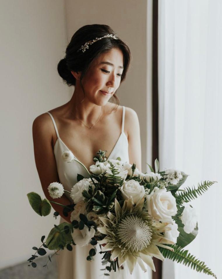 bride bohemian dress natural makeup