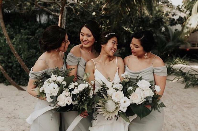 bride bridesmaids hair and mekup bridal party
