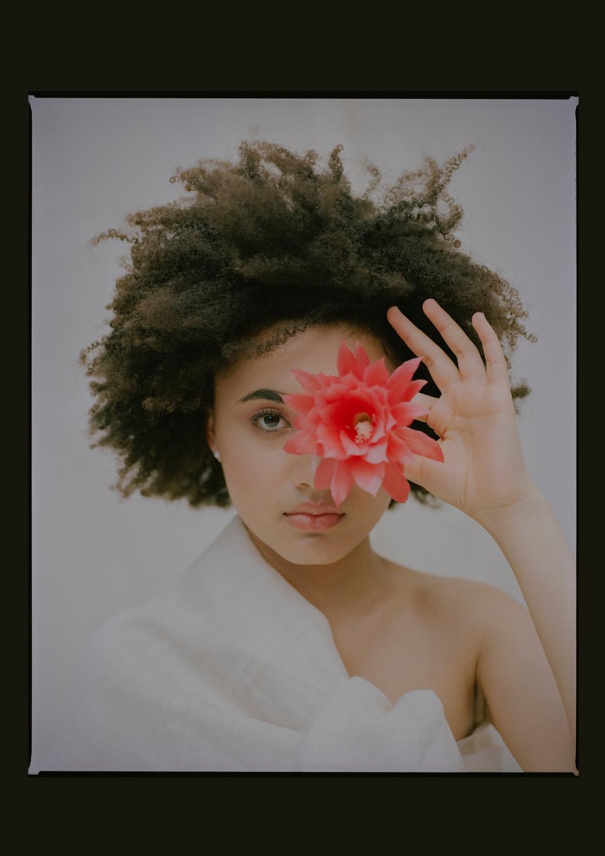 flower editorial model makeup
