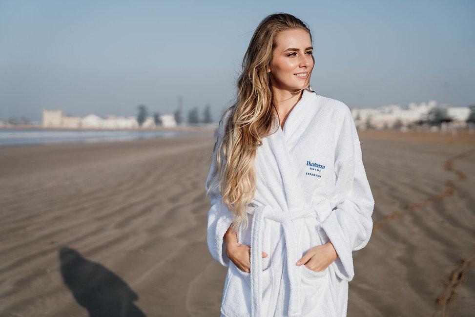 beach essaouira model in hotel robe