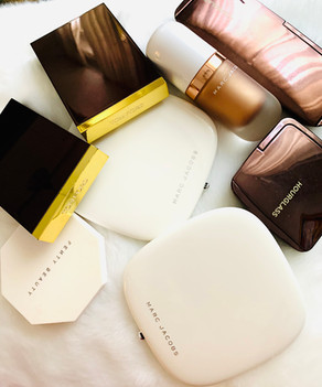 Face and eyes products: Marc Jacobs, Tom Ford, Hourglass, Fenty Beauty