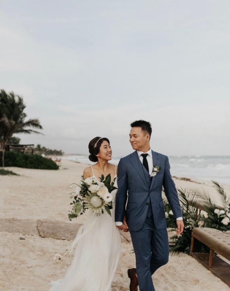 beach wedding bride white dress