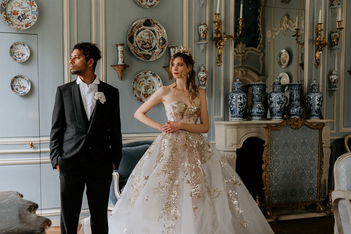 wedding in chateau castle in France brid