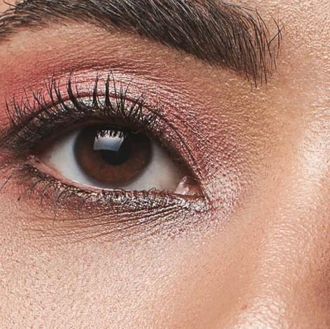 eye close up pink editorial makeup