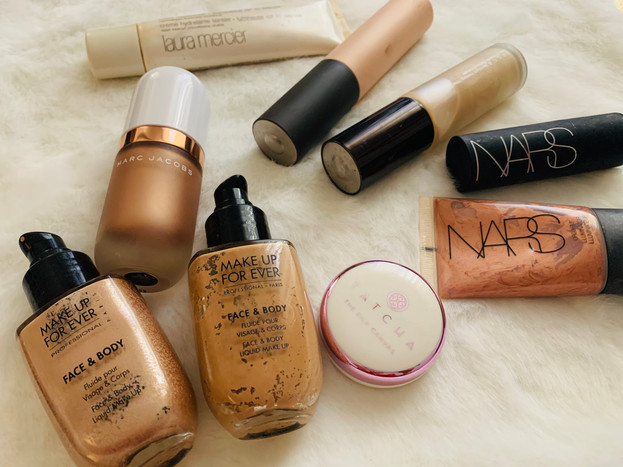 Face products, primers: MakeUp Forever, Becca, Nars, Marc Jacobs, Tatcha, Laura Mercier