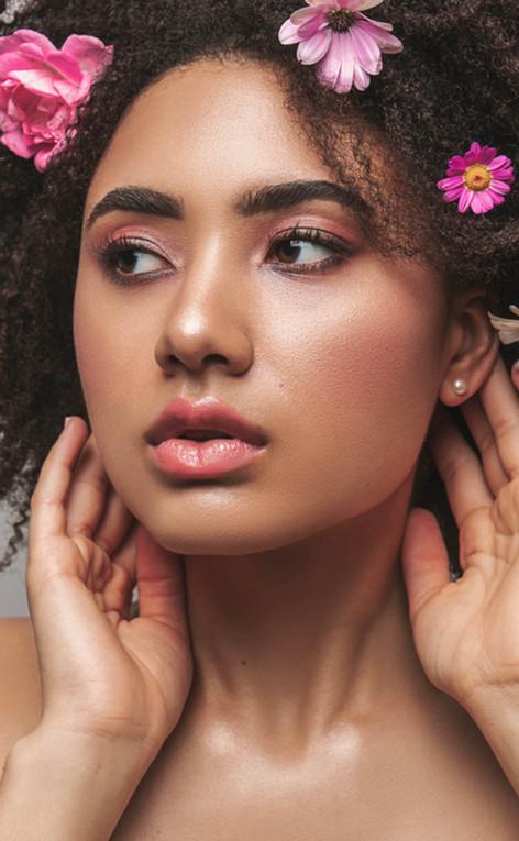 dark skin makeup pink editorial