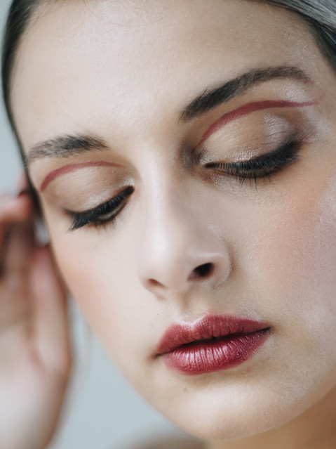 editorial red lines makeup artist