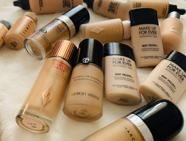 Foundations: Charlotte Tilbury, Marc Jacobs, MakeUp Forever, Dior, Giorgio Armani