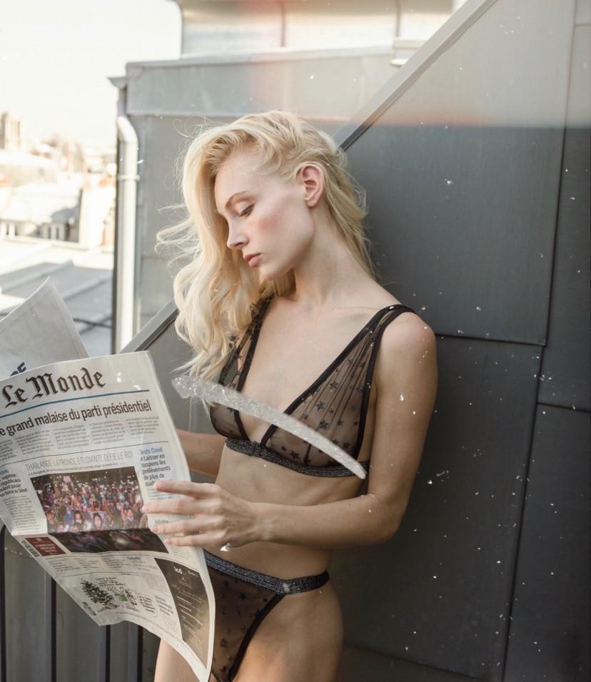 blond model makeup editorial lingerine