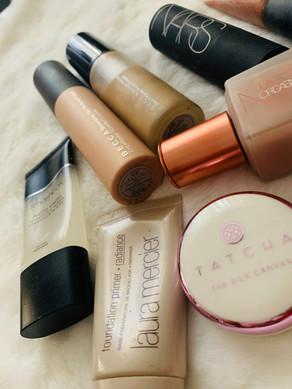 Face products: Nars, Smashbox, Tatcha, Laura Mercier, Becca
