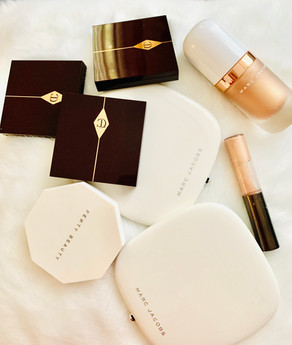 Face and eyes products: Becca, Marc Jacobs, Charlotte Tilbury, Fenty Beauty