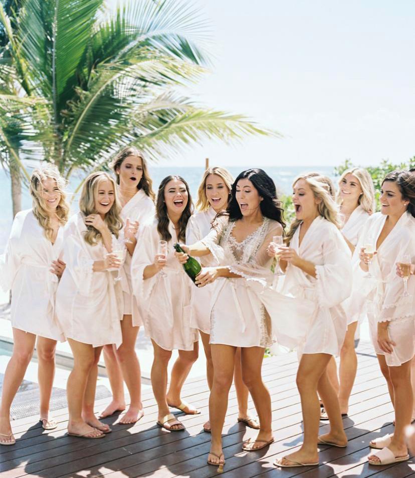 bride with bridesmaids party wedding