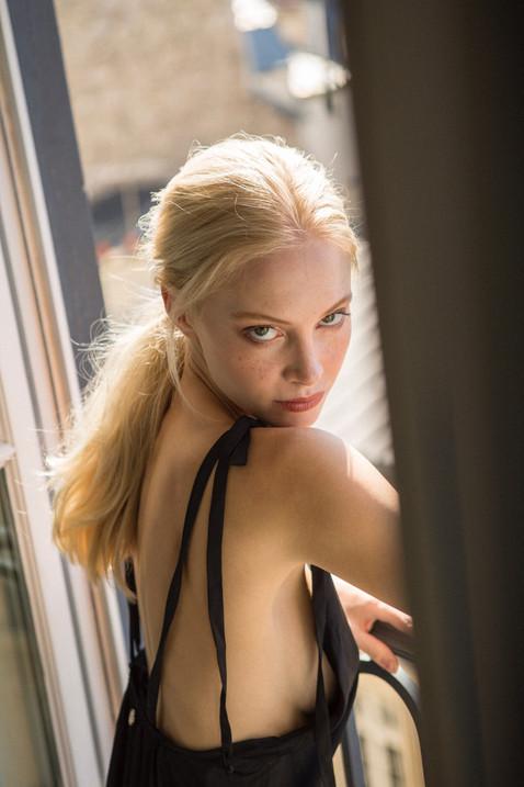 model freckles natural makeup lingerine