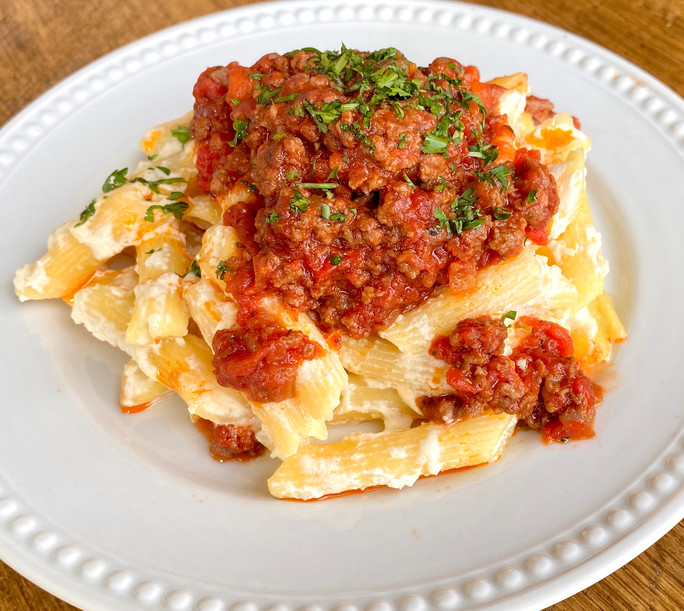 Baked Beef Bolognese w Penne Pasta