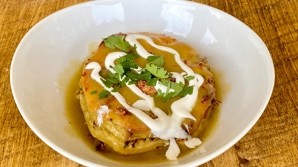 Green Chili Chicken Enchilada Casserole