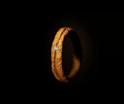 Fede in oro rosso muto e diamante