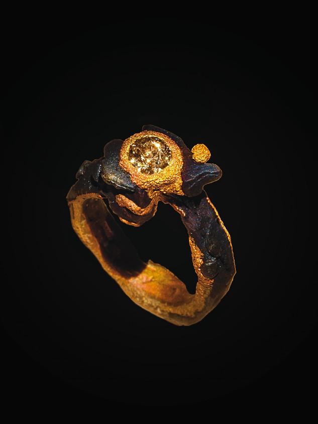 anello ferro-oro e diamante