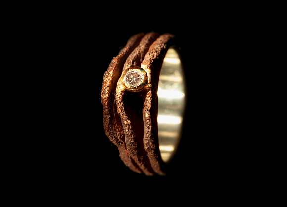 Anello in bronzo, argento, oro e diamante