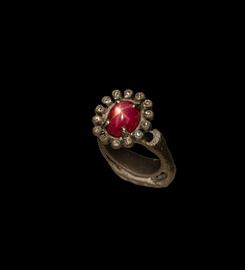 anello in titanio, diamanti e rubino stellato