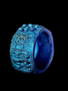 Anello titanio blu