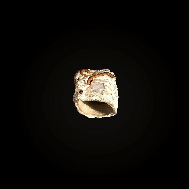 Anello in argento, bronzo, diamante e quarzo