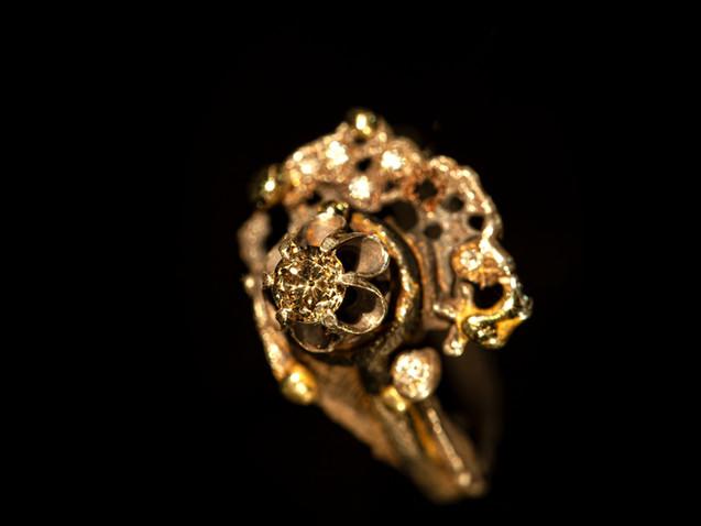 Anello in argento, bronzo, oro, ferro e diamanti