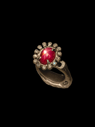 Ring in titanium, diamonds and star ruby